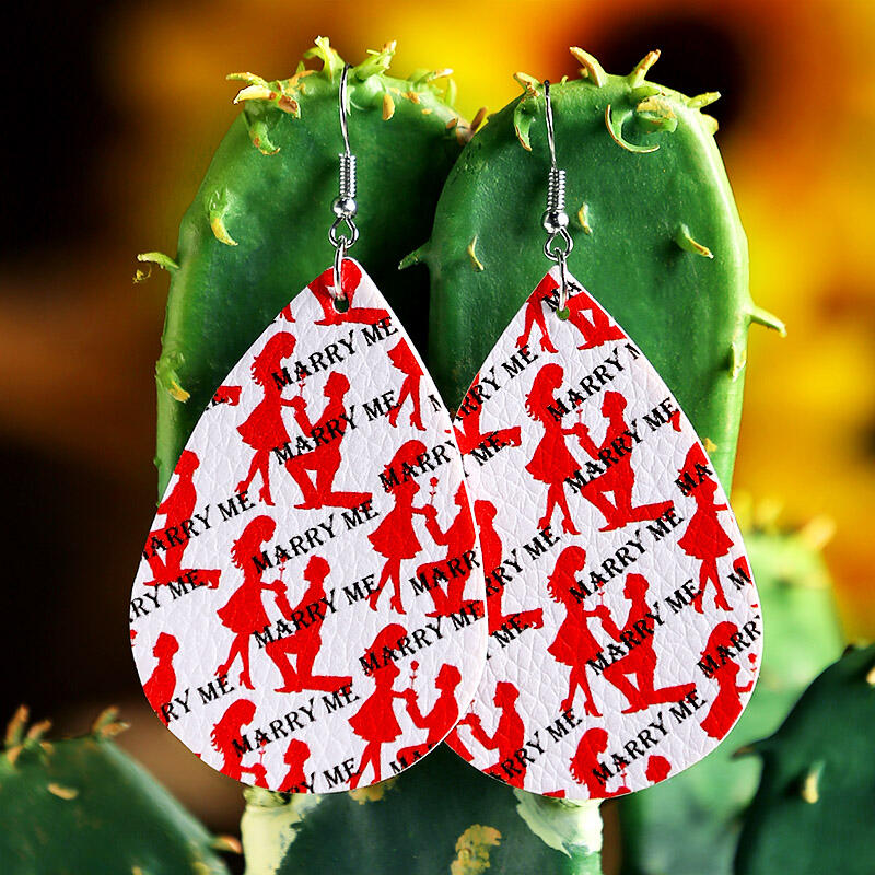 Fairyseason coupon: Marry Me Love PU Leather Earrings