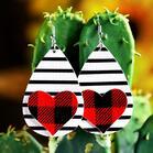 Plaid Striped Love Heart PU Leather Earrings