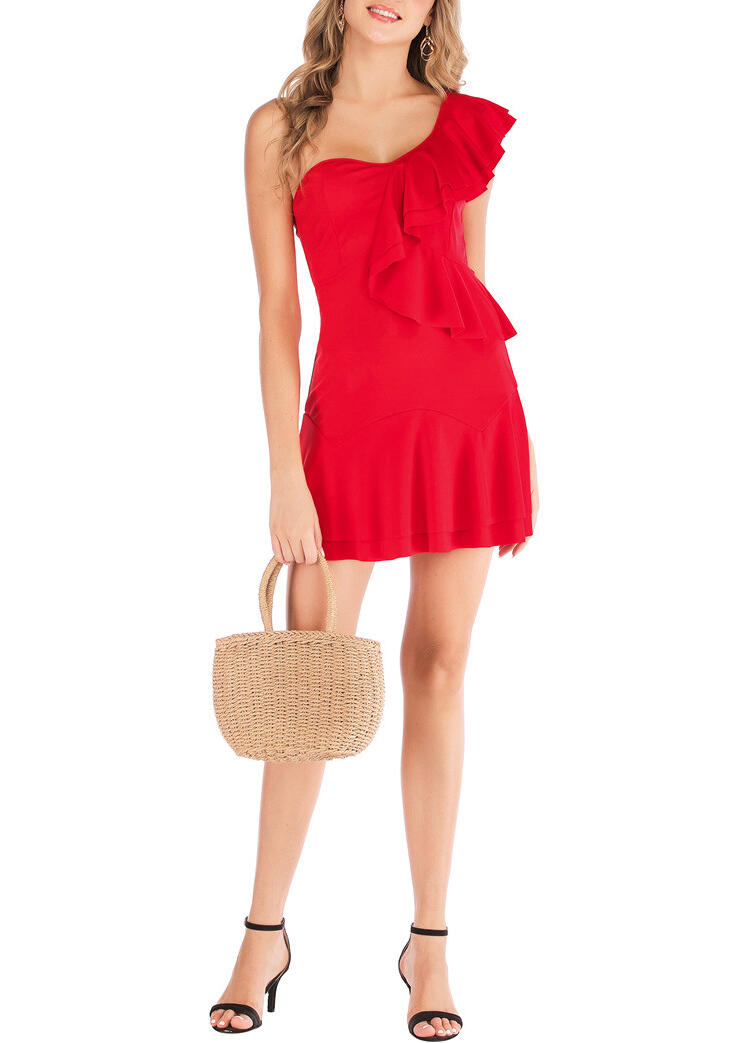 Zipper Irregular Ruffled Mini Dress - Red