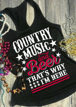 Country Music and Beer Tank - Black