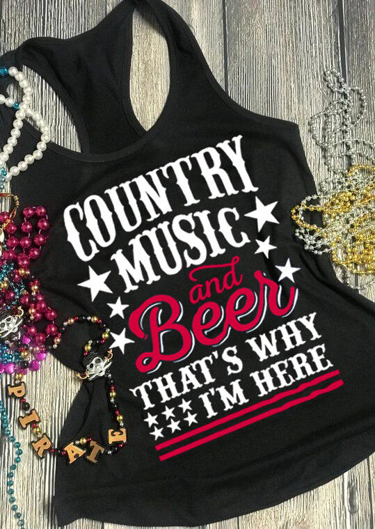 Country Music and Beer That's Why I'm Here Tank Top in Black. Size: M фото