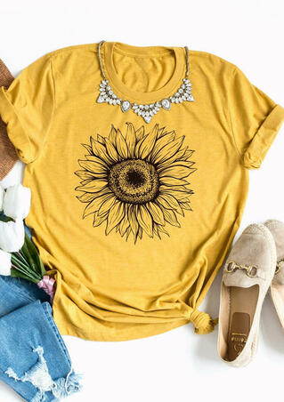 Presale - Sunflower O-Neck T-Shirt Tee without Necklace