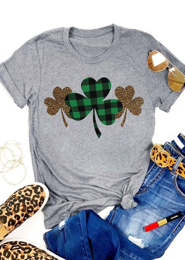 St. Patrick's Day Plaid Leopard Printed Clover T-Shirt Tee - Gray