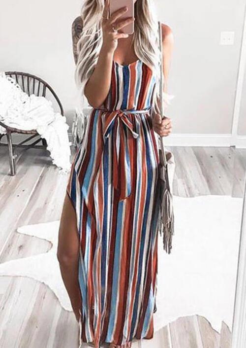 Colorful Striped Slit Spaghetti Strap Maxi Dress фото