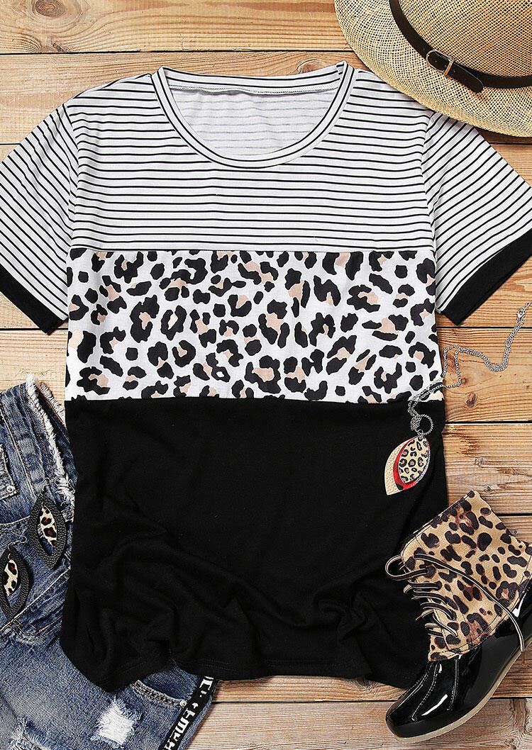 Leopard Printed Striped Splicing T-Shirt Tee – Black