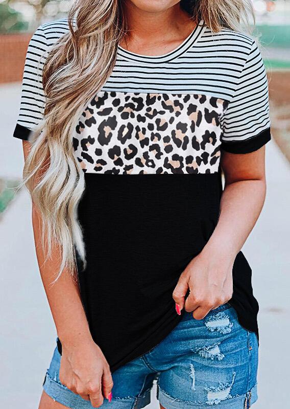Tees T-shirts Leopard Printed Striped Splicing T-Shirt Tee in Black. Size: S,M,L,XL фото