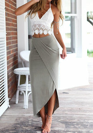 Lace Camisole + Long Skirt Outfit - Gray фото