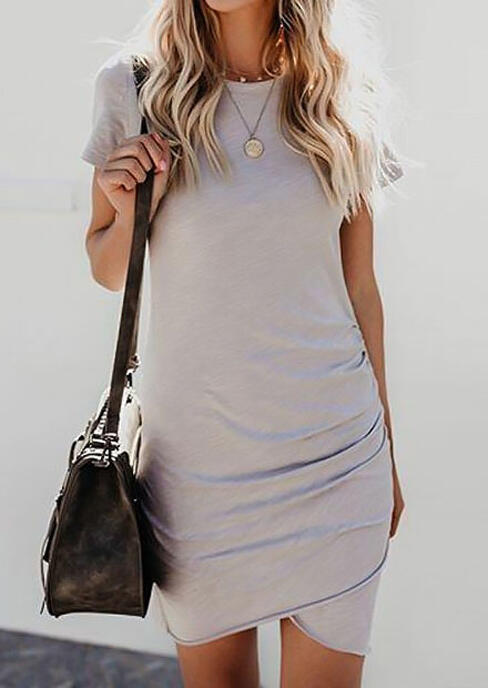 Bodycon Dresses Ruched Short Sleeve Bodycon Dress without Necklace in Black,Gray,Light Blue. Size: S,M,L,XL фото