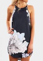 Floral Sleeveless Mini Dress - Navy Blue