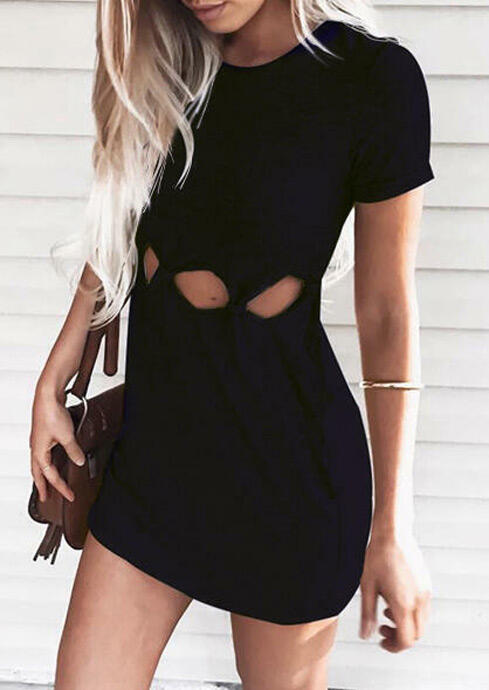 Black Cut Out Knotted T-Shirt Dress in Black. Size: S,M,L,XL фото