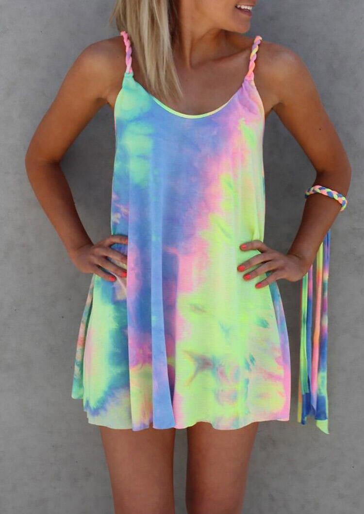 Mini Dresses Colorful Tie Dye Twist Mini Dress without Bracelet in Multicolor. Size: S,M,L,XL,2XL,3XL фото