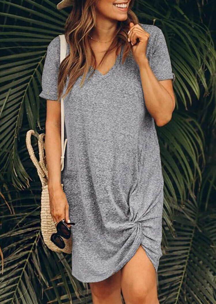 Twist V-Neck Mini Dress without Necklace - Gray фото