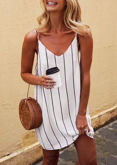 Striped Spaghetti Strap Mini Dress - White фото