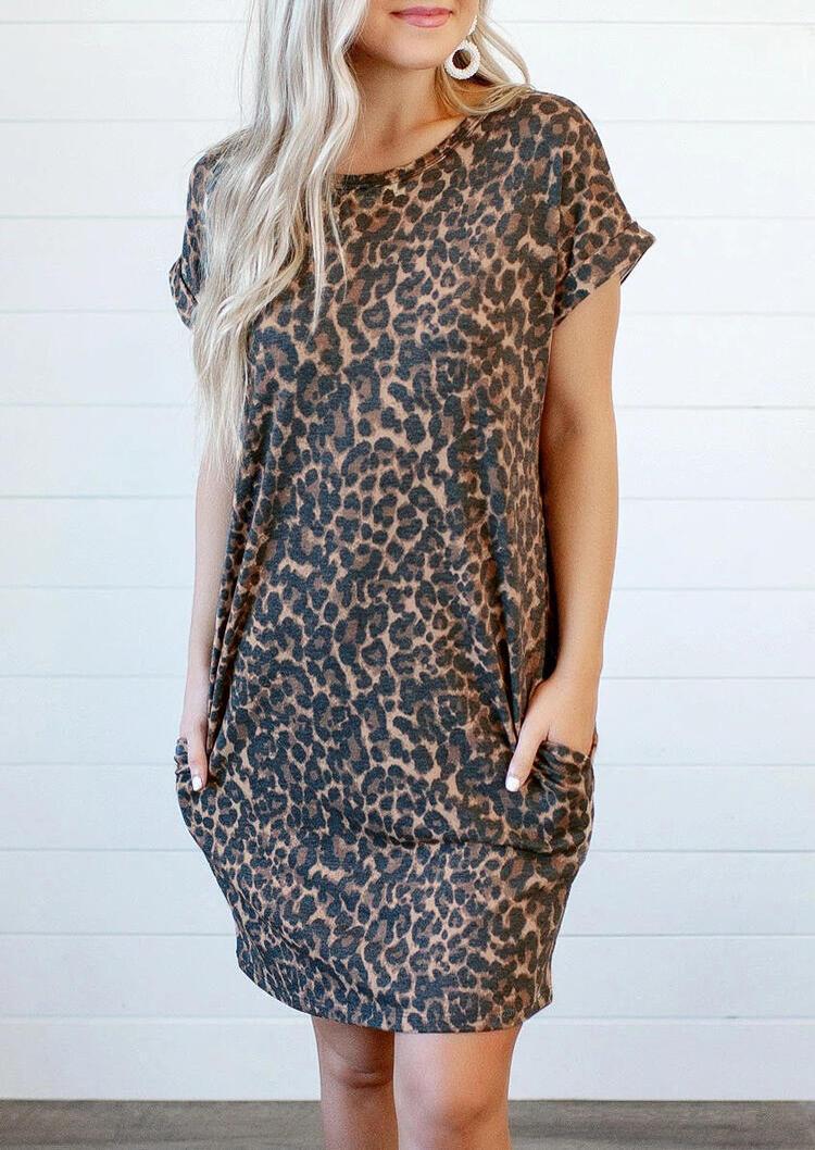 Mini Dresses Leopard Printed Open Back Pocket Mini Dress in Leopard. Size: S,M,L,XL фото