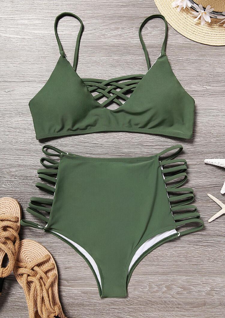 Criss-Cross Hollow Out Bikini Set – Green