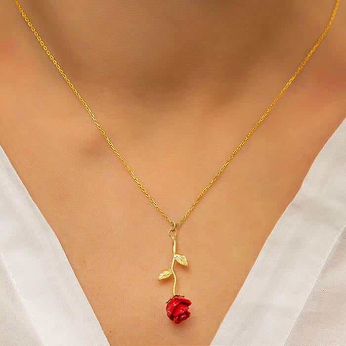Necklaces Fashion Leaf Red Rose Pendant Necklace in Silver,Rose Red. Size: One Size фото