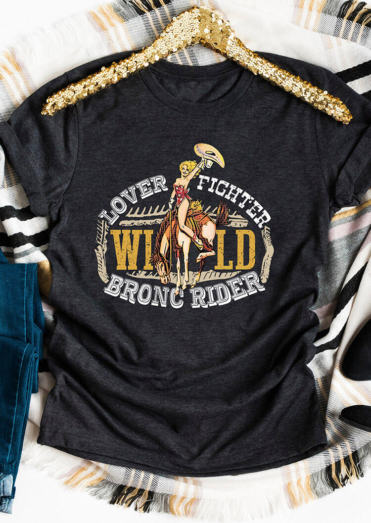 Lover Fighter Wild Bronc Rider T-Shirt Tee – Dark Grey