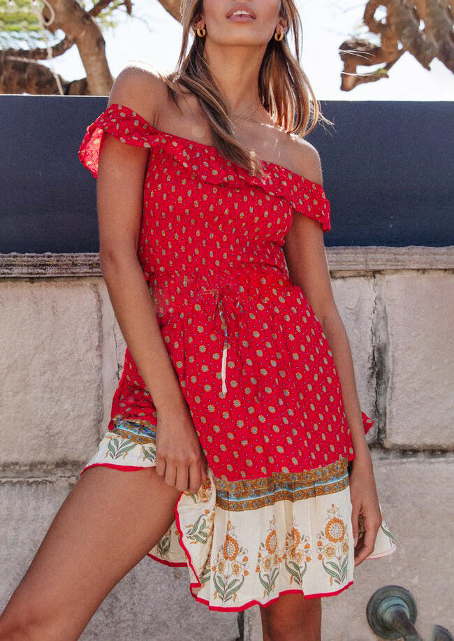 Mini Dresses Floral Tie Off Shoulder Mini Dress without Necklace in Brick Red. Size: S,M,L,XL фото