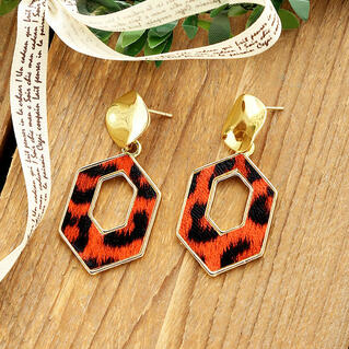 Women's Fashion Leopard Printed Hexagon Earrings