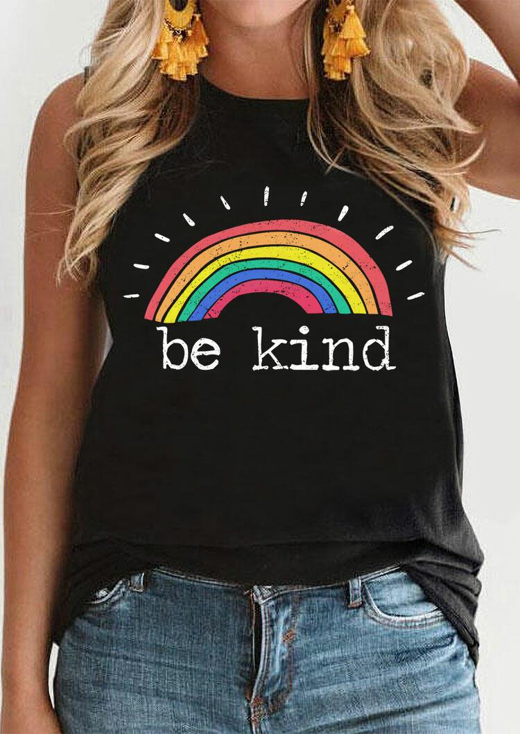 Be Kind Rainbow O-Neck Tank - Black фото
