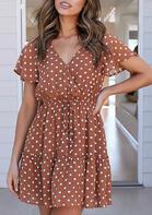 Summer Outfits Women Polka Dot Ruffled Tie Mini Dress