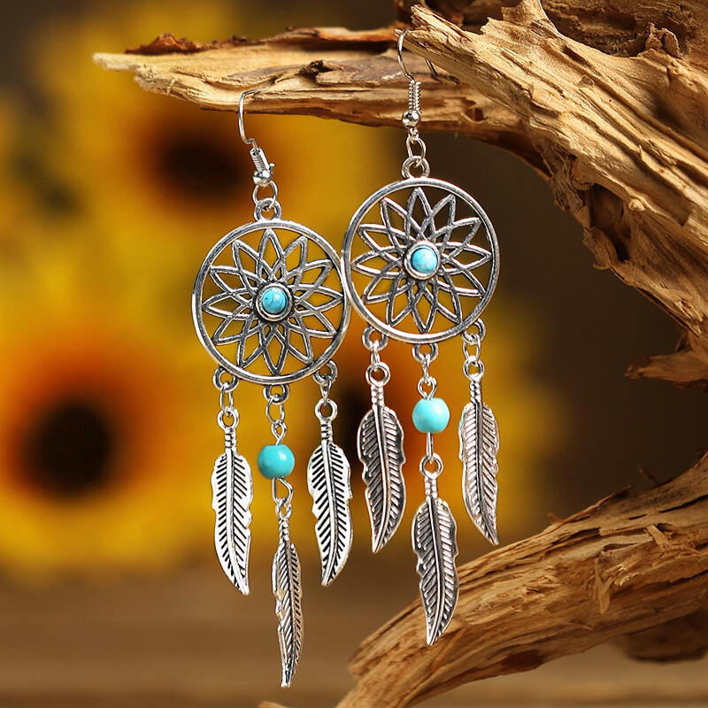 Hollow Out Turquoise Feather Pendant Earrings фото