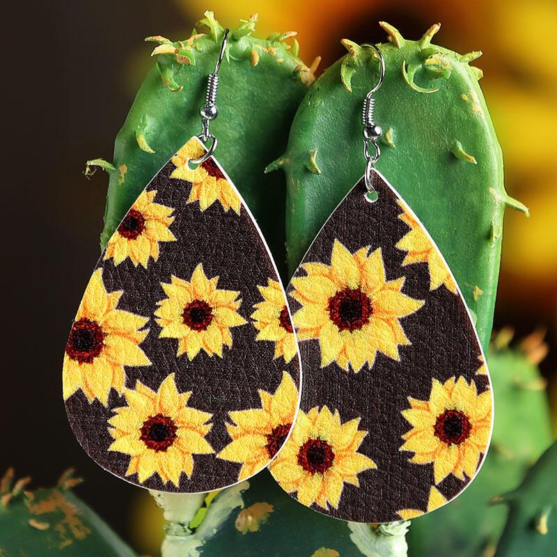Sunflower Water Drop Shaped Leather Earrings фото