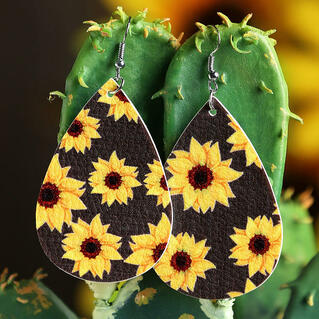 Sunflower Water Drop Shaped Leather Earrings