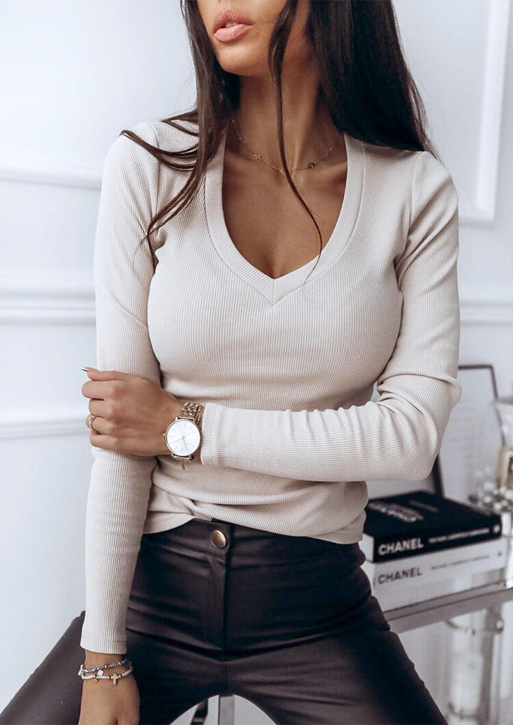 V-Neck Long Sleeve T-Shirt Tee without Necklace – White