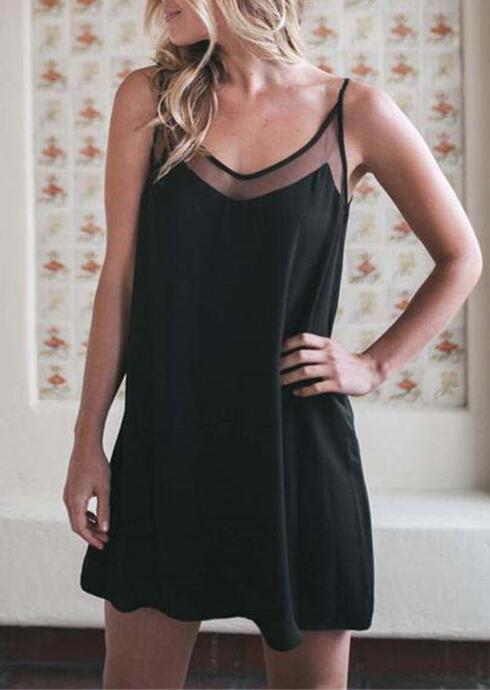 Mesh Splicing Spaghetti Strap Mini Dress – Black