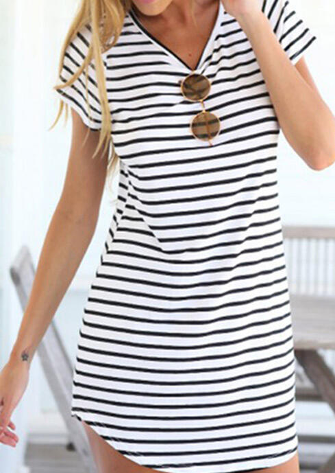 Striped V-Neck Mini Dress without Sunglasses - White фото