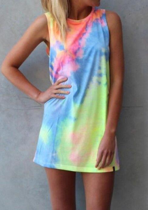 Tie Dye Print Mini Dress - Multicolor фото