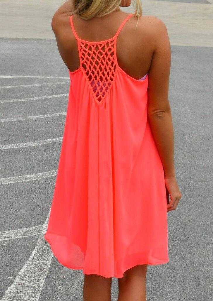Mini Dresses Splicing Hollow Out Spaghetti Strap Mini Dress in Orange,Red,Yellow,Rose Red,Fluorescent. Size: S,M,L,XL фото