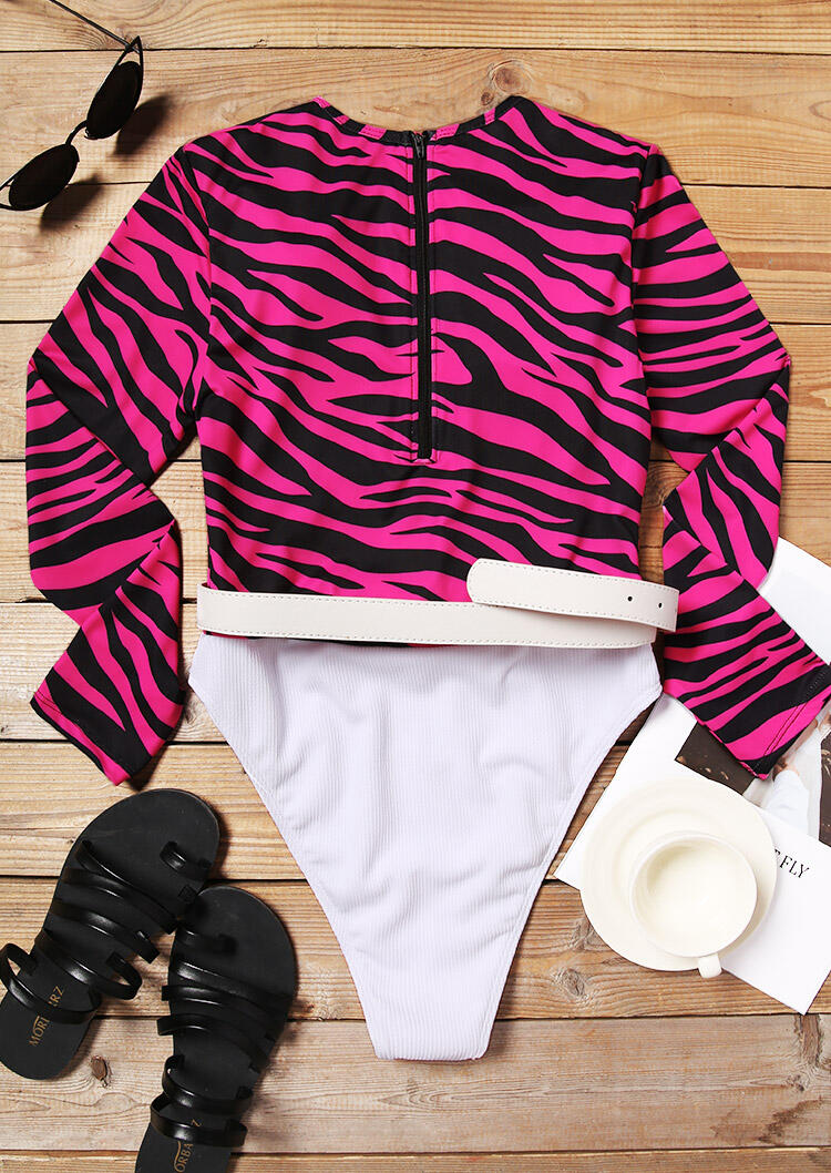 Zebra Color Block Zipper One-Piece Swimsuit with Belt - Rose Red