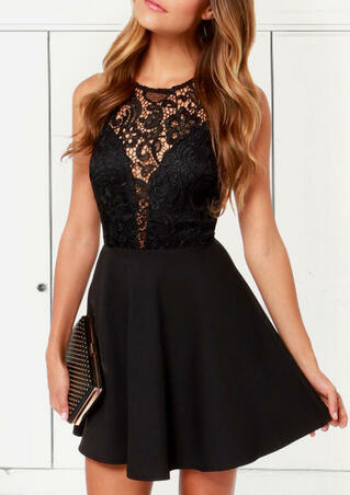 Lace Splicing Hollow Out Open Back Mini Dress - Black