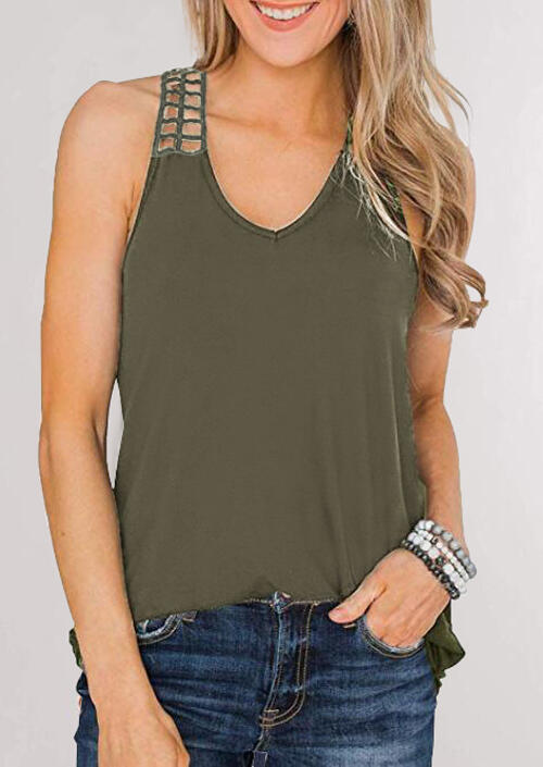Hollow Out V-Neck Casual Tank – Army Green