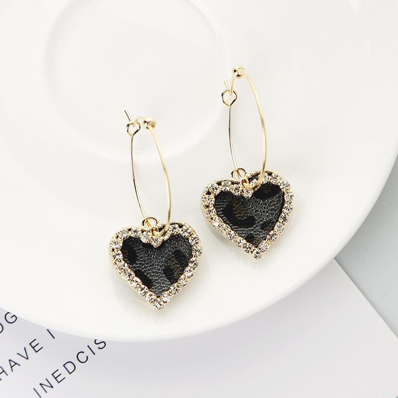 Love Heart Rhinestone Leopard Printed Earrings