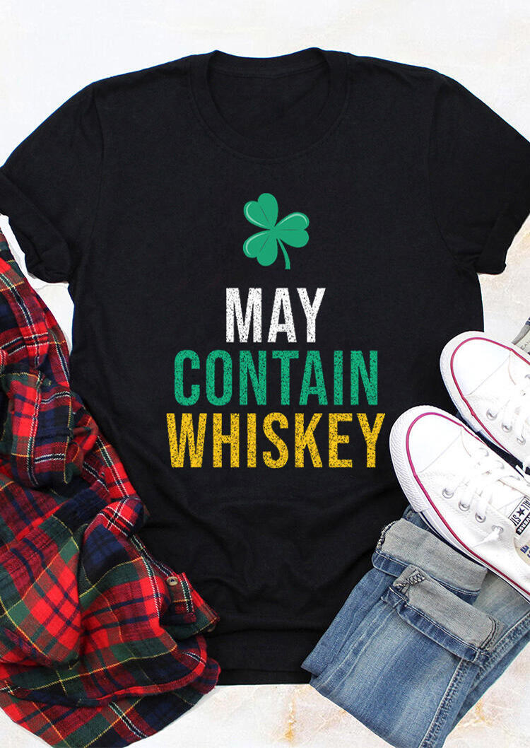 May Contain Whiskey Lucky Shamrock T-Shirt Tee - Black фото