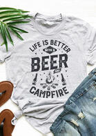 Women Summer Outfits Life Is Better With A Beer And Campfire T-Shirt Tee
