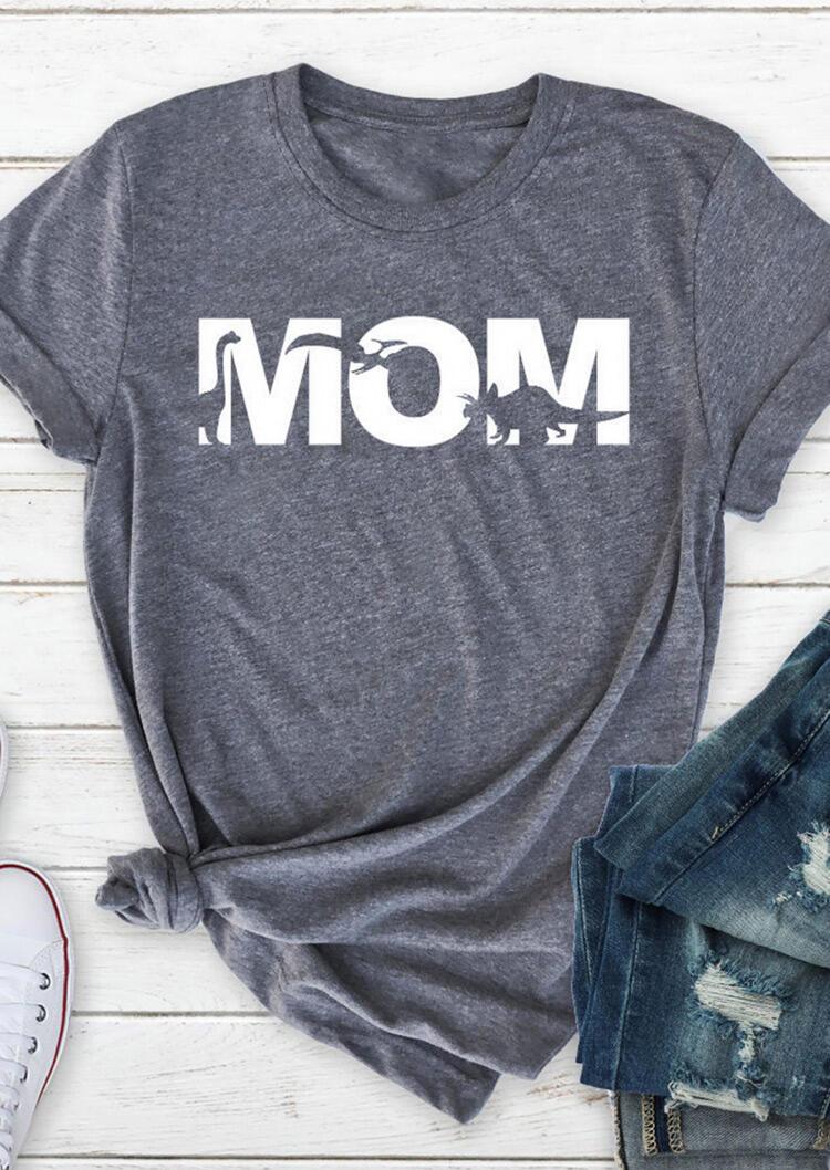 Mom Dinosaur O-Neck T-Shirt Tee - Gray фото