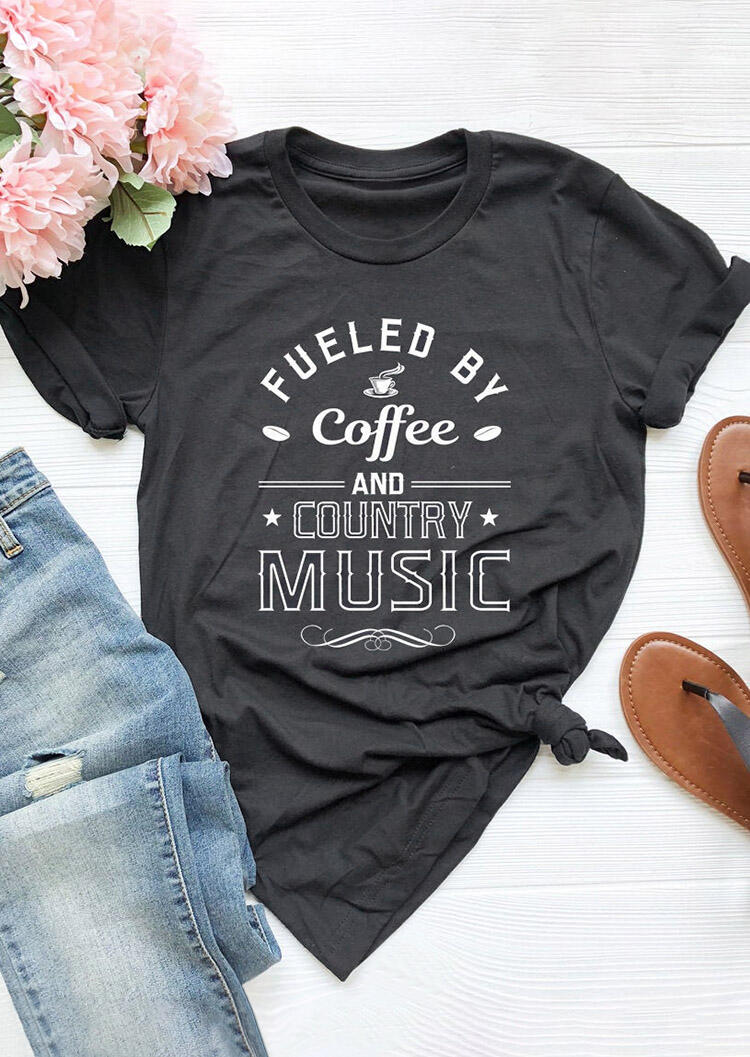 Tees T-shirts Fueled By Coffee And Country Music T-Shirt Tee - Dark Grey. Size: S,M,,XL