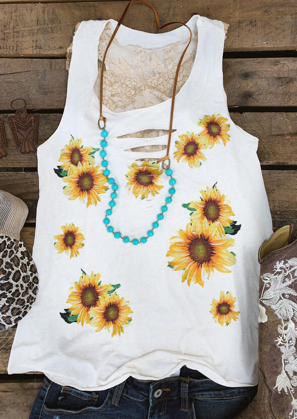 Sunflower Hollow Out Tank without Necklace - White фото