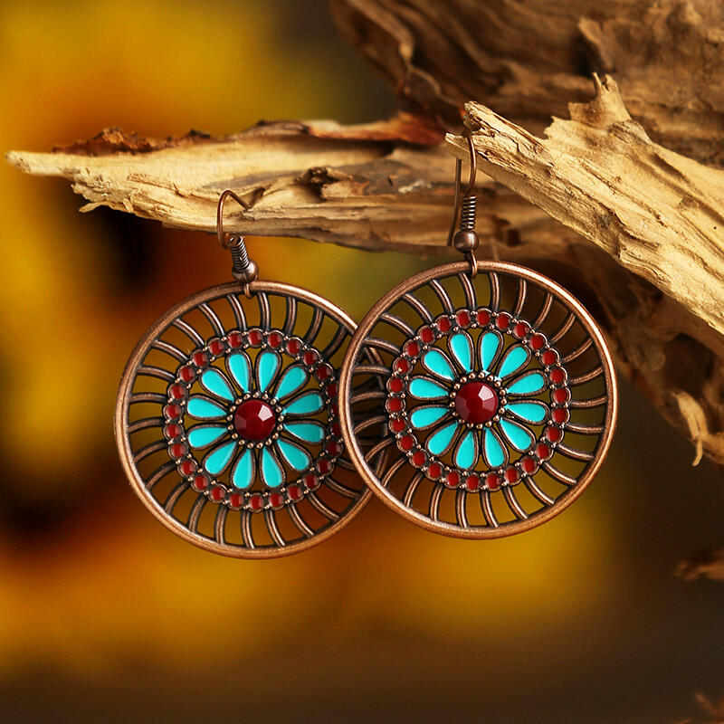 Vintage Ethnic Hollow Out Sunflower Earrings