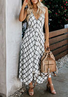 Summer Dress Plaid Open Back Tie Asymmetric Maxi Dress