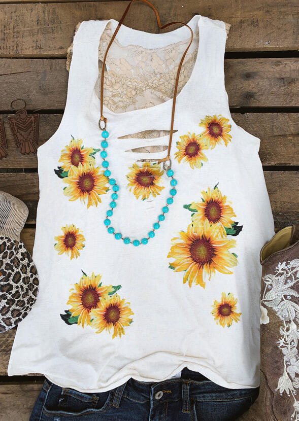 Tank Tops Sunflower Hollow Out Tank without Necklace in White. Size: S,M фото