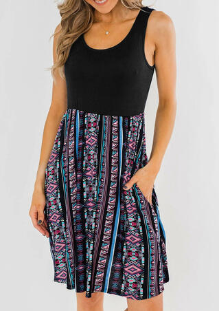 Aztec Geometric Printed Pocket Mini Dress without Necklace - Black