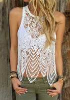 Causal Summer Outfits Lace Splicing O-Neck Tank without Bra
