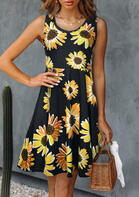 Trendy Summer Outfits Sunflower Sleeveless Mini Dress
