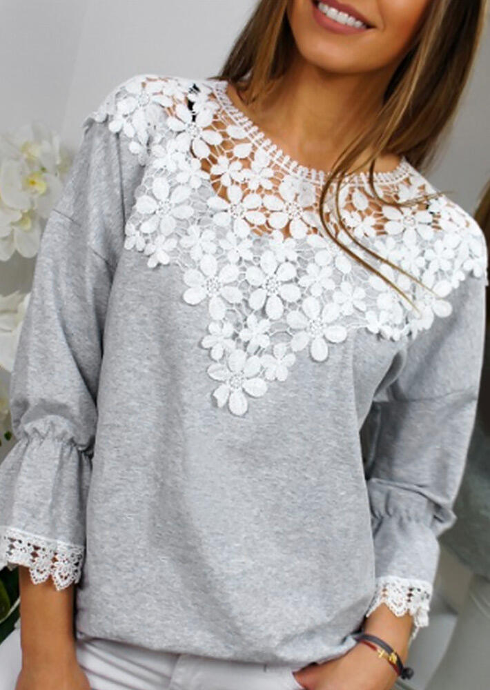 Lace Splicing Flare Sleeve Blouse – Light Grey