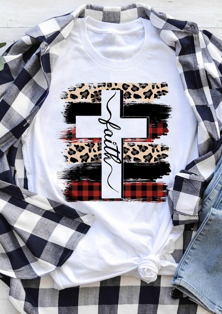 Faith Cross Plaid Leopard Printed T-Shirt Tee – White